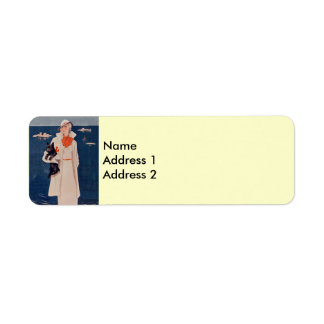 Elegant Vintage Lady Scotty Dog Return Address Lab