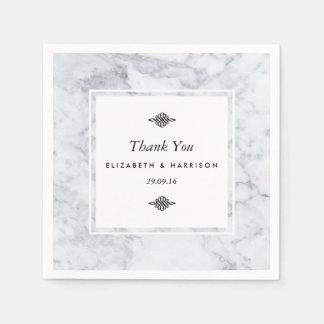 Elegant Vintage Marble Wedding Paper Napkins