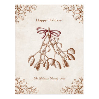 Elegant vintage mistletoe postcard