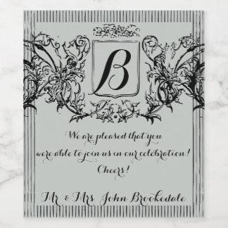 Elegant Vintage Monogram Design Wine Label