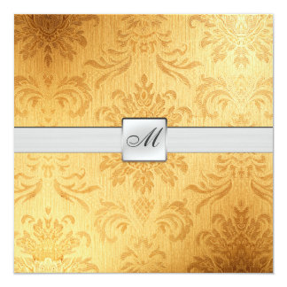 "Elegant Vintage Monogram Wedding (with wording) 5.25"" Square Invitation Card"