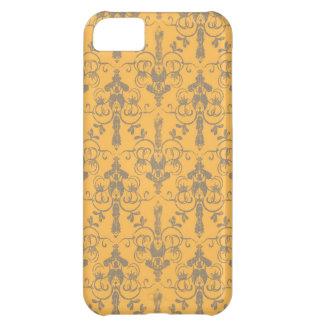 Elegant Vintage Orange Gray Damask Floral Pattern Case-Mate iPhone Case