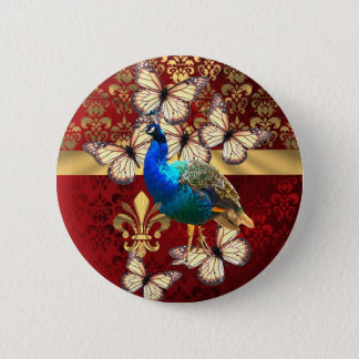 Elegant vintage peacock and red  damask 2 inch round button