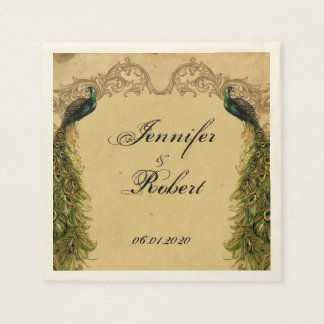 Elegant Vintage Peacock Posh Wedding Napkin Disposable Napkin