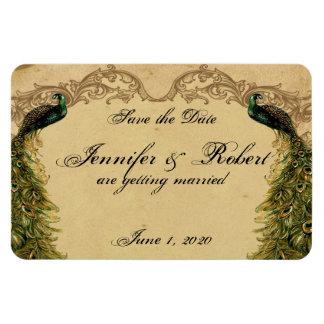 Elegant Vintage Peacock Posh Wedding Save the Date Vinyl Magnet