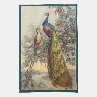 Elegant vintage peacock tree kitchen towel