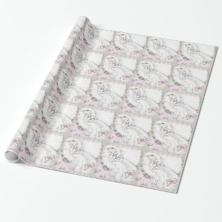 Elegant Vintage Pink Baby Shower Wrapping Paper