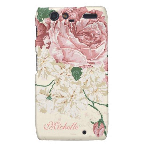 Elegant Vintage Pink Floral Pattern Motorola Droid RAZR Case