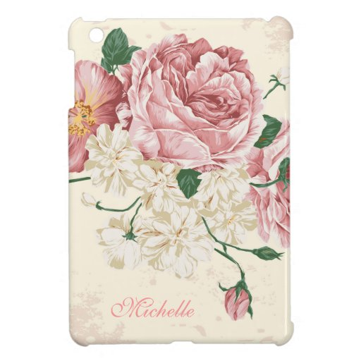 Elegant Vintage Pink Floral Pattern iPad Mini Cover