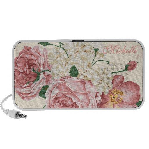 Elegant Vintage Pink Floral Pattern Travel Speakers
