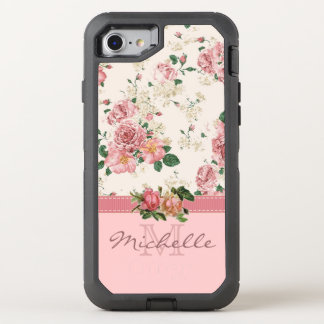 Elegant VIntage Pink Floral with Monogram OtterBox Defender iPhone 8/7 Case