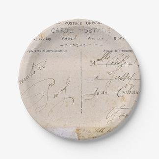 Elegant Vintage Postcards Handwriting 7 Inch Paper Plate
