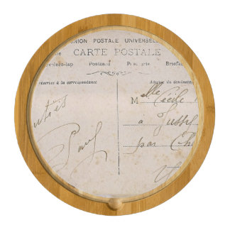 Elegant Vintage Postcards Handwriting Rectangular Cheeseboard