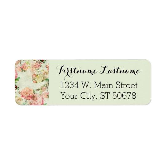 Elegant Vintage Pretty Pink Floral Roses Pattern Return Address Label