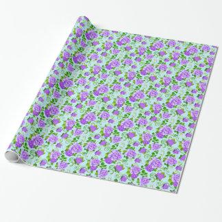 Elegant Vintage Purple Roses Blue 2 Background Wrapping Paper