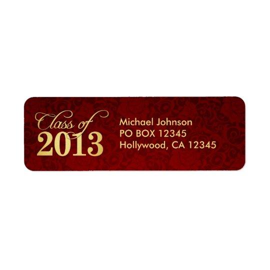 Elegant Vintage Red damask and Gold Class of 2013 Return Address Label