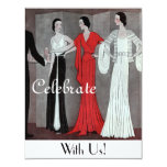 "Elegant Vintage Retro Art Deco Party 4.25"" X 5.5"" Invitation Card"