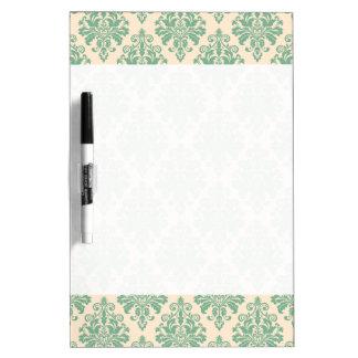 Elegant Vintage Retro Damask Pattern Dry Erase Board