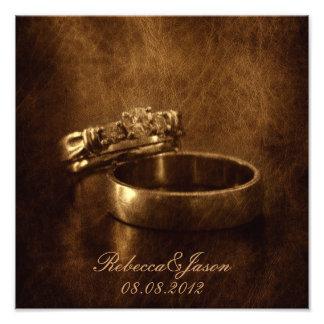 elegant vintage  rings leather wedding anniversary photo art