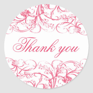 Elegant vintage rococo swirls thank you sticker