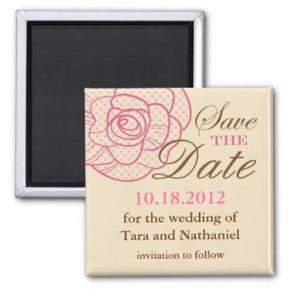 Elegant Vintage Rose Save the Date Magnet