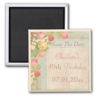 Elegant Vintage Roses 40th Birthday Save The Date Square Magnet