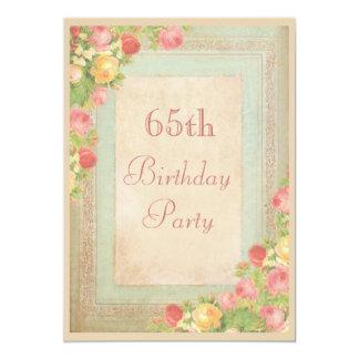"Elegant Vintage Roses 65th Birthday Party 5"" X 7"" Invitation Card"