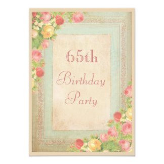 Elegant Vintage Roses 65th Birthday Party 5x7 Paper Invitation Card