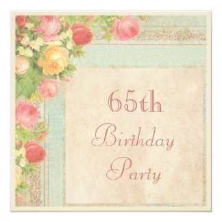 "Elegant Vintage Roses 65th Birthday Party 5.25"" Square Invitation Card"
