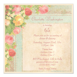 Elegant Vintage Roses 65th Birthday Party Magnetic Invitations