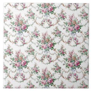 Elegant Vintage Roses and Swags Tile