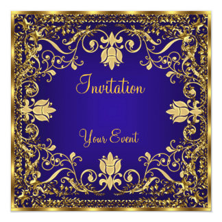 Elegant vintage Royal Blue Gold Invitation