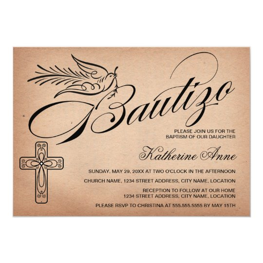 Elegant Vintage Script Cross and Dove Bautizo Card