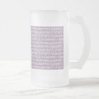 Elegant Vintage Script Typography Lettering Purple Frosted Glass Beer Mug