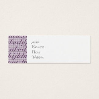 Elegant Vintage Script Typography Lettering Purple Mini Business Card