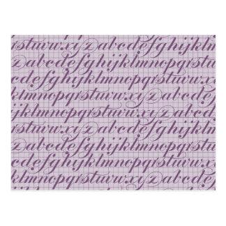 Elegant Vintage Script Typography Lettering Purple Postcard
