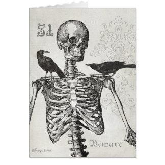 Elegant vintage skeleton & crows Halloween card