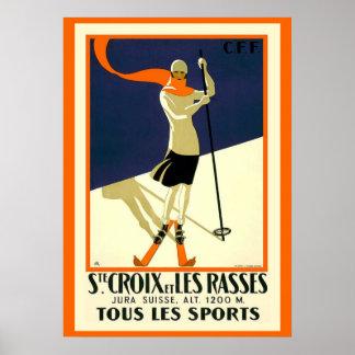 Elegant Vintage (Ste) St. Croix Skiing Poster copy