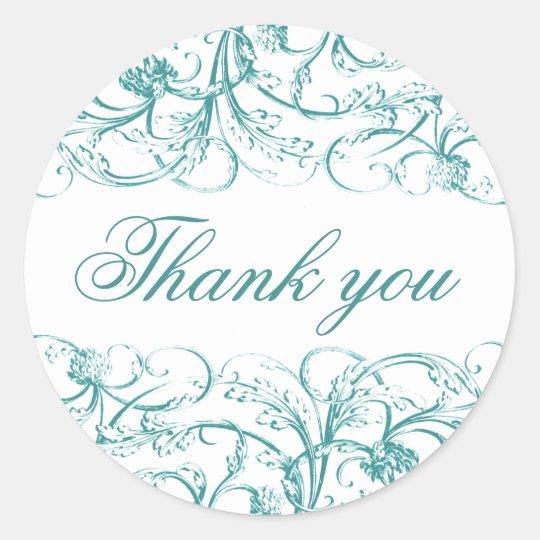 Elegant vintage swirls rococo thank you sticker