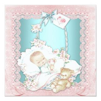 """Elegant Vintage Teal Blue an Pink Baby Girl Shower 5.25"""" Square Invitation Card"""