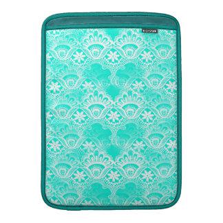 Elegant Vintage Teal Turquoise Lace Damask Pattern MacBook Sleeve