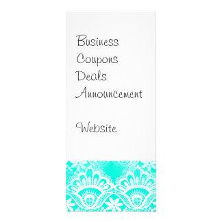 Elegant Vintage Teal Turquoise Lace Damask Pattern Custom Rack Card