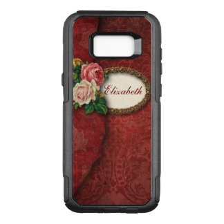 Elegant Vintage Torn Red Damask and Roses OtterBox Commuter Samsung Galaxy S8+ Case