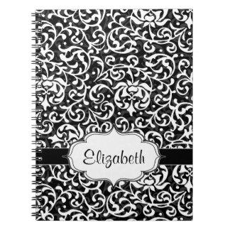 Elegant Vintage Tudor Garden Damask Pattern Notebook