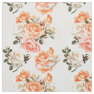 Elegant Vintage Victorian beige rose pattern Fabric