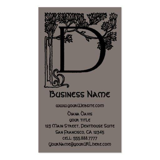 Elegant Vintage Victorian Monogram Letter D, Tree Business Card