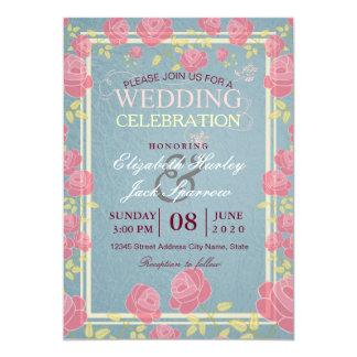 "Elegant Vintage Wedding Celebration Bridal Shower 5"" X 7"" Invitation Card"