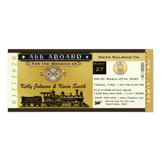 Elegant Vintage Wedding Train Ticket Invitation