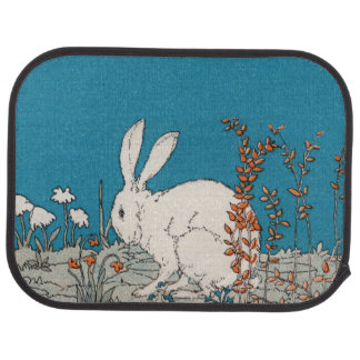 Elegant Vintage White Rabbit Flowers Car Mat