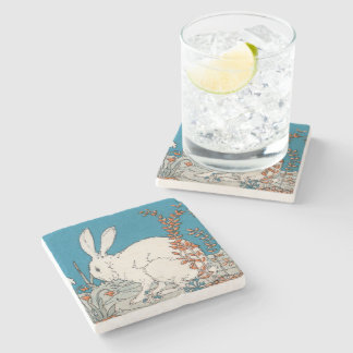Elegant Vintage White Rabbit Flowers Stone Beverage Coaster